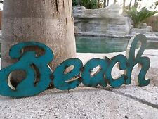 """Large 34"""" Recycled Rustic Metal Yard Garden Nautical Surf Decor Beach Wall Sign"""
