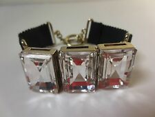 Banana Republic Rectangle Stone BLK Grosgrain Ribbon Toggle Bracelet NIP $49