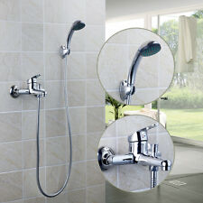 US Wall Mounted Chrome Brass Basin Bathtub Shower Faucets W/ Handheld Mixers Tap
