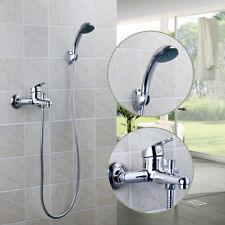 Bathroom Bath Wall Mounted Chrome Brass Shower Hand Spray And One Handle Faucet