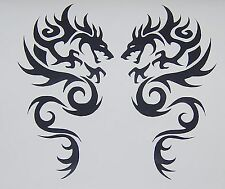 "TRIBAL DRAGON VINYL DECALS STICKERS 8"" BLACK  NEW SET OF 2"