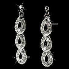 18k white gold gp genuine SWAROVSKI crystal stud earrings dangle