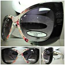 UNIQUE VINTAGE EXAGGERATED CAT EYE Style FLORAL SUN GLASSES Black & Gold Frame