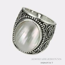 Authentic Lori Bonn Silver Creme De La Creme Large Oval Ring Size 8  38204WM