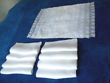VINTAGE (8) ORGANDY WHITE PLACEMATS AND NAPKINS ~ WHITE WORK EMBROIDERY