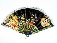 Black Spanish Flower Floral Fabric Lace Folding Hand Dancing Fan Party Favor