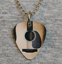 Metal Guitar Pick Necklace - ACOUSTIC GUITAR - six string pendant charm music
