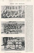 1896 MILITARY PRINT : MUSIC AND MUSCLES, MANDOLINE BAND, FOOTBALL TEAM, TUG OF W