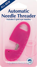 Hemline Automatic Needle Threader And - 5 Gold Eye Needles Included - H230