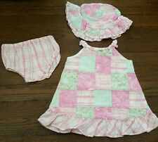 Maggie Zoe baby girl 3 months Pink green plaid dress bloomers hat set 3 pc EUC