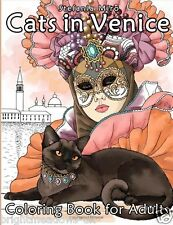 Cats in Venice Adult Colouring Book Animal Feline Kitty Kitten Pussy Realistic