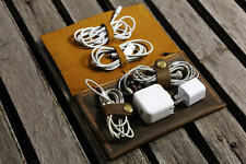 Leather cable management cord organizer cable organiser charger bag cord pouch