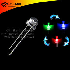 100pcs Straw Hat Transparent 2pin 5mm RGB Fast flashing Automatically LED Diodes