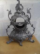 Vintage pewter clock uhr corps de pendule horloge style art deco en etain
