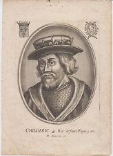 Childeric Childerich (+481) König Frankreich Roi de France Orig Kupferstich 1700