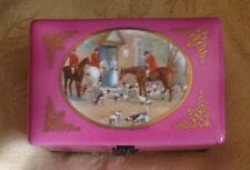 Antique European Pink Porcelain Box scene with horseback riders dogs