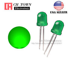 50pcs 8mm Green Color Green Light Diffused Round Top LED Diodes USA