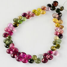 88CT Old Mine Brazil Tourmaline Faceted Heart Briolette Beads 9.2 inch strand