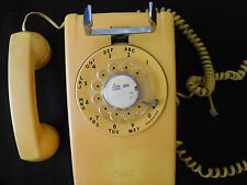 Vintage Telephone Wall Mount Rotary Bell Systems Yellow Untested