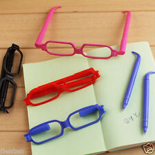 1PC New Novelty Glasses Shape Ballpoint Blue Ink Pens Student Office Ballpens