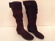 Boots-Womens-Me Too-Solid Brown Suede Slouch-Fashion-Low Wedge-Sz 8 M-Knee High