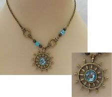 Gold & Blue Nautical Ship's Wheel Pendant Necklace New Handmade Adjustable Beads