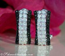 Interessante Brillanten Ohrstecker mit schwarzen Diamanten 1.29 ct. WG585 3465€