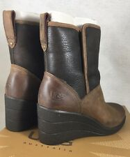UGG AUSTRALIA Renatta stout leather women's waterproof wedge boots size 5 Brown