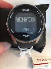 Pulsar Active Sport Mens Black Rubber Strap Chronograph Quartz Watch PQ2011-H74