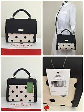 NWT Kate Spade Elsie Street Fabric Brynlee Satchel Black/Nat Dot