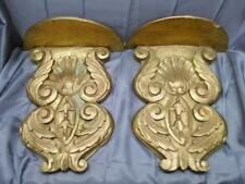 Vintage Old Carved Wood Brackets Wall Shelf Shelves Pair of 2 Two Wooden Carving
