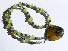 Collier/pendentif argent 925,1 opale verte d'Afrique, serpentine, agate mousse