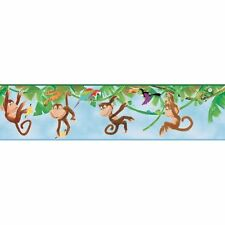 Monkey Business in the Jungle on Blue Sure Strip Wallpaper Border ZB3217BD