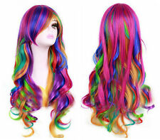 Fashion Long Multicolor Rainbow Wavy Curly Women's Lady's Cosplay Hair Wig +Cap