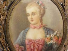 Fine Antique 19th 1800s woman portrait exquisite frame miniature painting signed