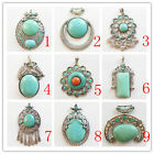 DX_21 Beautiful Carved tibet silver Wrapped Turquoise Pendant Bead