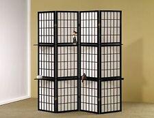 4 Panel Room Divider Privacy Shoji Screen Divider with Corner Shelves Black wood
