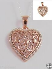 925 Sterling Silver Rose Gold Plated Filigree CZ Heart Pendant X'Mas Love GIFT N