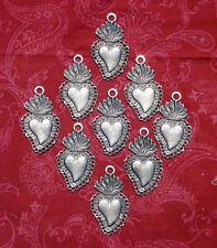 3 Milagros Sacred Flaming Hearts Loops Ex Voto Milagros Mexican Antiqued Silver