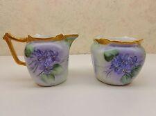 Vintage Bavaria Favorite Creamer & Sugar Bowl Clematis Violet Flower Vine VgC