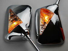 Motorcycle Chrome Square Rearview Side Mirror & Turn Signal Light Indicator New