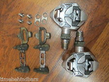 VINTAGE SHIMANO ULTEGRA PD-6500 SPD ROAD BIKE CLIPLESS PEDALS CLEATS & PONTOONS