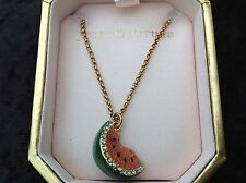 NIB Juicy Couture New Genuine Gold Necklace Wth Diamante Water Melon Pendant