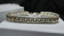 10mm Milor Vintage Sterling Silver 925 Gold accent Riccio Chain - Bracelet ITALY