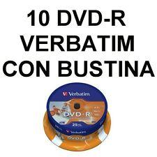 10 DVD-R 4,7 GB VERBATIM 4,7GB VERGINI VUOTI CON BUSTINE CON ALETTA