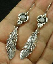 Rainbow Moonstone .925 Sterling Silver Intricate Feather Dangle Earrings 2 3/4""