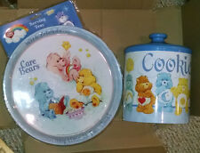 RARE HTF  Metal / Tin Care Bears Cookie Jar from 2004 & Serving Tray from 2003