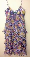 Tibi New York Rare Blue Boho Floral Ruffle Spaghetti Strap 100% Silk Dress 2 S