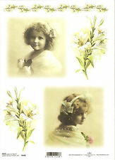 Rice Paper for Decoupage Scrapbooking, Vintage Girl White Lily ITD R440