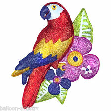 2 Tropical Hawaiian Sparkling Glitter Parrot Plastic Party Decorations